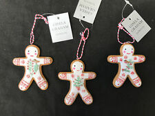 3 x Gisela Graham 'Iced' Gingerbread Men Hanging Christmas Tree Decorations