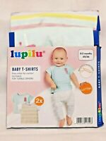 Lupilu 2 x Baby T-Shirts Short Sleeves Shoulder Poppers 0-2 months Cotton Sealed