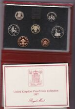 More details for royal mint 1987 deluxe red proof set of 7 coins with certificate