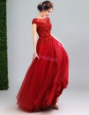Elegant Red Lace Floral Bride Wedding Dress Floral Clubwear Prom Evening Gown