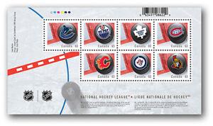 NHL = 7 CANADIAN Teams = Hockey puck with team LOGOs Souvenir Sheet Canada 2013