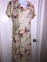 Vintage Bedford Fair Midi Dress Size 12 Cream Linen Beaded Flowers As Is Flaws