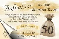 """Urkunde """"Club der alten Säcke"""" 18 20 30 40 50 60 70 Geburtstag  Deko Geschenk"""