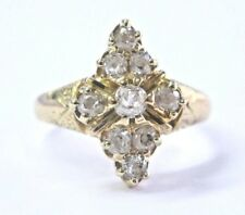 Vintage Old Mine Cut Diamond Cluster Yellow Gold Ring .60Ct 14KT