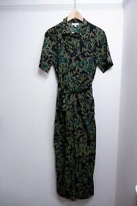 Topshop Black & Green Platsuit Women's Size Uk 12 Vgc short Sleeve