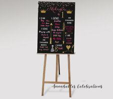 Personalised First Birthday Chalk Board & Milestones Print 1st / Princess Pink