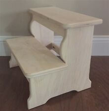 LITTLE BOY   2 - WOOD STEP STOOL - SANDED FINISH
