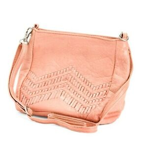 NWT $138 Day And & Mood Peony Peach Leather Cross Body Bag Purse