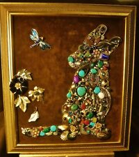 Vintage Jewelry Art Puppy, signed,  &framed