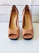JS by Jessica~Tan/Black Leather Studded Platform Open Toe Heels Sz 10W
