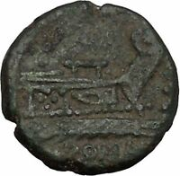 Roman Republic Quadrans Hercules Prow of Galley Ship Ancient Coin 130BC i45106