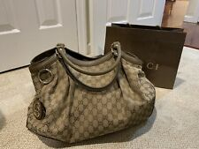 Authentic Gucci  Very Large Sukey Handbag Brown Logo Monogram GG