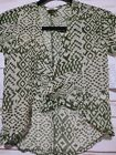 NWT LuLaRoe Girls BIANKA Kimon Size 1 Sheer Army Green and Cream Aztec Accents