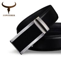 Cow Genuine Leather Automatic Buckle Male Strap Fashion Black Belts For Men New