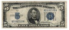 1934 $5 Silver Certificate,Large Blue Seal, VG  old money Nice!