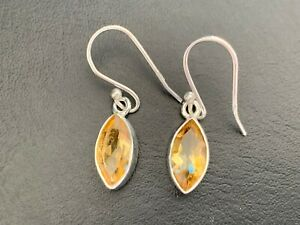 925 Sterling Silver Citrine Earrings Gemstones Drop Marquise Faceted Yellow Gem