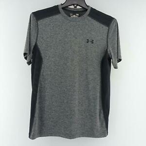 Mens Under Armour Heatgear Fitted Gray Athletic Shirt Sz Medium Sport Perforated