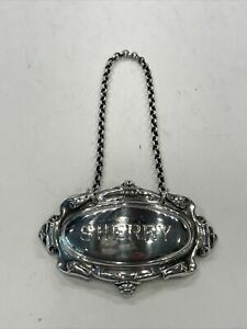 Vintage English Heavy Sterling Silver Sherry Decanter Label Bottle Tag