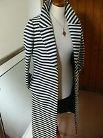 NEW RRP£199 Ladies BRUCE OLDFIELD dress COAT UK 8 long line striped naval duster