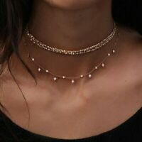 Fashion Clavicle Choker Necklace Crystal Star Gold Women Boho Summer Jewelry Hot