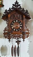 Antique 19th century Black Forest Railroad Train Station Cuckoo Clock. Work well