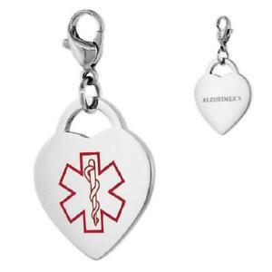 ALZHEIMER'S Edelstahl Medizinische Warnung Herz Form Anhänger W / Hummer