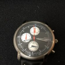 T.C. Electronic Rare Silver Tone Multi Dial 2 Leather Band Wrist Watch Set