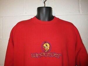 "Vintage 90s Looney Tunes Tweety Bird ""Whatever"" Sweatshirt XL"