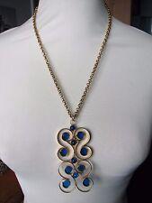Vintage 1970s Huge Gold Tone Metal Swirly Clear Blue Resin Pendant