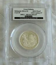 2012 £1 BRITANNIA SILVER PROOF SLABBED CGS 99 - 25th ANNIV PORTRAIT COLLECTION b