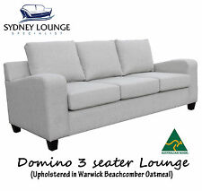 AUSTRALIAN MADE Domino 3 seater Lounge Couch Sofa (Beachcomber Fabric)