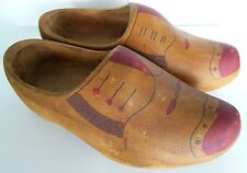 Dutch Wingtip Wooden Shoes Vintage Older Holland Hand Painted Clogs