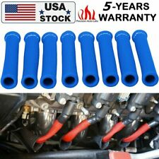 8 HIGH HEAT BLUE SHIELDENGINE SPARK PLUG WIRE BOOT PROTECTOR SLEEVE COVER 1200°