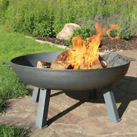 "Sunnydaze 34"" Fire Pit Cast Iron with Steel Finish Wood-Burning Fire Bowl"