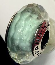 Authentic Pandora 925 ale silver beads charm glass mint shimmer f