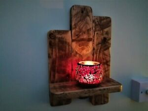 RUSTIC RECLAIMED PALLET WOOD  WALL SCONCE / CANDLE  HOLDER