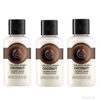 The Body Shop COCONUT Shower Cream Body Wash 2oz / 60ml~3 Mini Travel Bottles