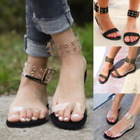 Women Lady Summer Transparents Open Toe Beach Flat Sandals Gladiator Jelly Shoes