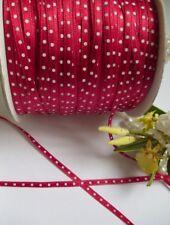 4 MM Christmas Red / White Dots Satin Ribbon-5 Yards-T379
