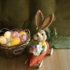 Easter Bunny Eggs Led Night Light Woven Basket Festival Party Supplies Set Gift
