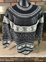 Vintage Mark Elliot Cosby 90s Sweater Geometric Black Brown Mens Large Leather