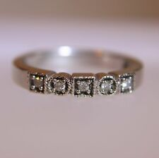 Insolito diamante mezza eternità anello oro bianco 9ct dimensione N 1/2 ~ US 7