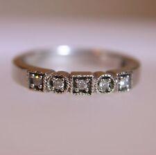 Unusual Diamond Half Eternity 9ct White Gold ring size N 1/2 ~ US 7