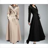 Elegant Women Full-Length Parkas Maxi Trench Coat Double Breasted Belt Jacket sz