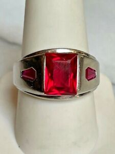 MEN'S VINTAGE WHITE GOLD SYNTHETIC RUBY SIGNET RING SIZE 10.25