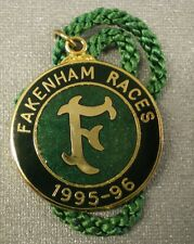 Fakenham Races Enamel Badge 1995 - 1996 Horse Racing Racecourse
