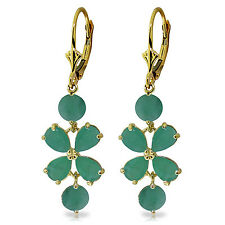 5.32 Carat 14K Solid Gold Chandelier Earrings Natural Emerald