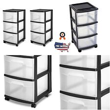 3 Drawer Organizer Cart Rolling Bin Set 2 Black Plastic Craft Storage Container