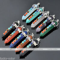 7 Gemstone Bead Pendulum Hexagon Chakra Healing Point Reiki Pendant Fit Necklace