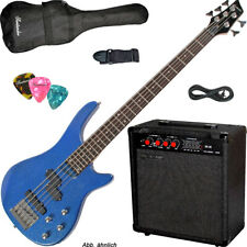 5-Saiter e-Bass set metal-Blue con 60w amplificador + bolsa, cable, cinturón, pleks